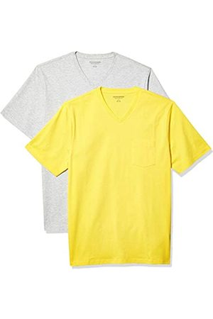 Amazon 2-Pack Loose-Fit V-Neck Pocket T-Shirt Fashion-t-Shirts, Yellow/Light Heather Grey, US