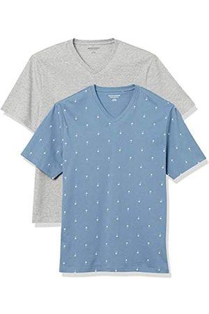 Amazon 2-Pack Loose-Fit V-Neck T-Shirt Fashion-t-Shirts, Palm Tree/Grey Heather, US S