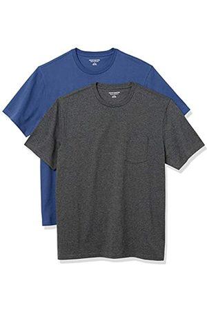 Amazon 2-Pack Loose-Fit Crewneck Pocket T-Shirt Fashion-t-Shirts, Blue/Charcoal Heather, US M