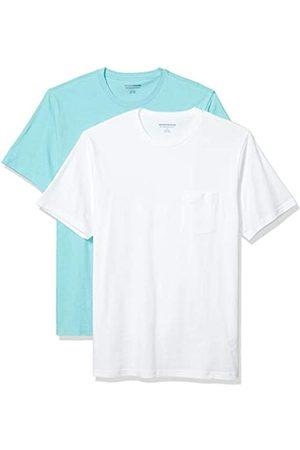 Amazon 2-Pack Slim-Fit Crewneck Pocket T-Shirt Fashion-t-Shirts, Aqua/White, US M