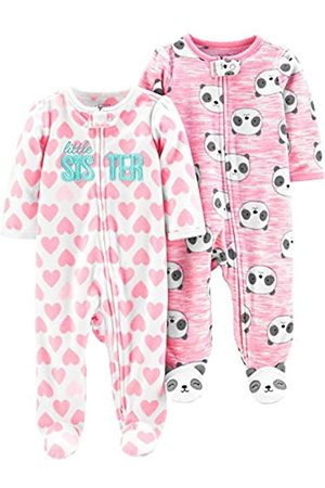 Simple Joys by Carter's Confezione da 2 Tasche in Pile con Cerniera A 2 Vie, per Dormire E Giocare. Infant-And-Toddler-Bodysuit-Footies, Sorellina/Pandas , US NB