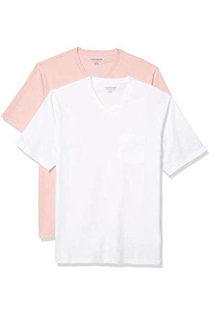 Amazon 2-Pack Loose-Fit V-Neck Pocket T-Shirt Fashion-t-Shirts, Light Pink/White, US M