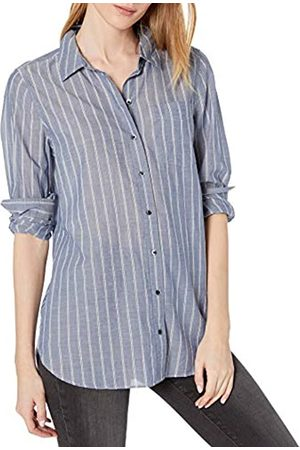 Goodthreads Cotton Dobby Long-Sleeve Button-Front Tunic Shirt Shirts, Indigo/White Double Stripe, US XL