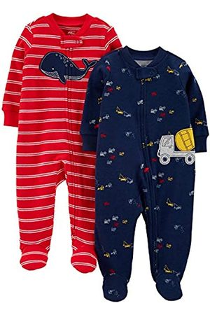 Simple Joys by Carter's Confezione da 2 Zip A 2 Vie in Cotone per Dormire E Giocare. Infant-And-Toddler-Sleepers, Balena Rossa/Costruzione, 6-9 Months