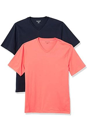 Amazon 2-Pack Loose-Fit V-Neck T-Shirt Fashion-t-Shirts, Coral/Dark Navy, US L