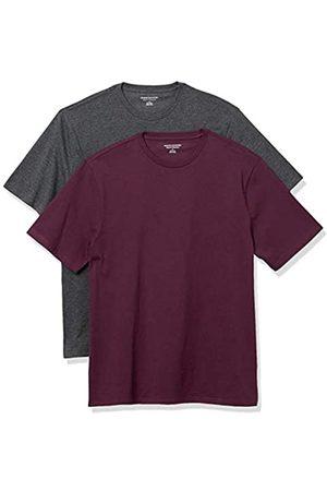 Amazon Set Composto da 2 Magliette a Girocollo a Maniche Corte Fashion-t-Shirts, Carbone Heather/Borgogna, US
