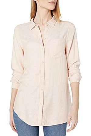 Daily Ritual Amazon Brand - Women's Soft Rayon Slub Twill Long-Sleeve Button-Front Tunic, White Shadow Windowpane , XX-Large