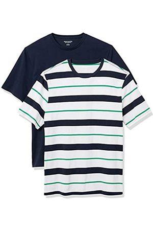 Amazon Set Composto da 2 Magliette a Girocollo a Maniche Corte Fashion-t-Shirts, , e Navy Verrogated Stripe/Navy, US L