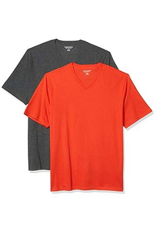 Amazon 2-Pack Loose-Fit V-Neck T-Shirt Fashion-t-Shirts, Bright Orange/Charcoal Heather Grey, US XXL
