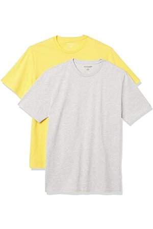 Amazon 2-Pack Slim-Fit Crewneck T-Shirt Fashion-t-Shirts, Yellow/Light Heather Grey, US XXL