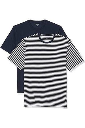 Amazon Set Composto da 2 Magliette a Girocollo a Maniche Corte Fashion-t-Shirts, Strisce Bianche/ Marino, US