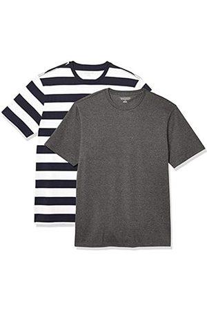 Amazon Uomo Polo - 2-Pack Slim-Fit Crewneck T-Shirt Fashion-t-Shirts, Navy Stripe/Charcoal Heather, US L