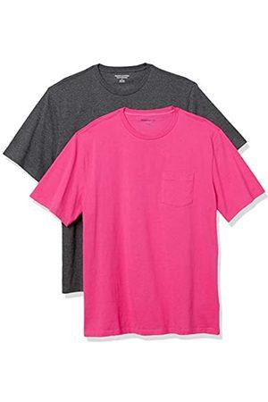Amazon Uomo Polo - 2-Pack Loose-Fit Crewneck Pocket T-Shirt Fashion-t-Shirts, Hot Pink/Charcoal Heather Grey, US S