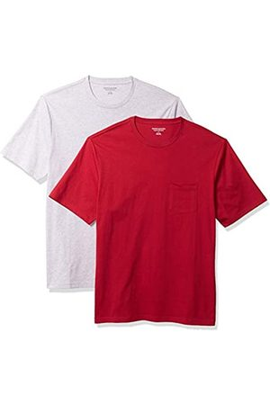 Amazon 2-Pack Loose-Fit Crewneck Pocket T-Shirt Fashion-t-Shirts, Red/Light Heather Grey, US M