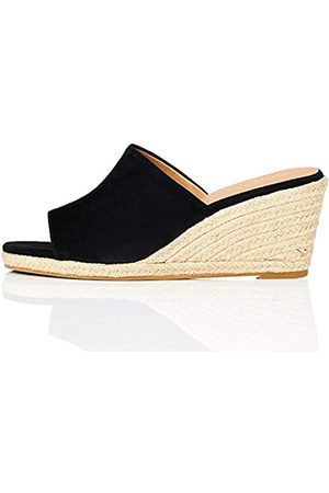 FIND Marchio Amazon - Mule Wedge Leather Sandalo Espadrillas con Zeppa, Nero , 39 EU