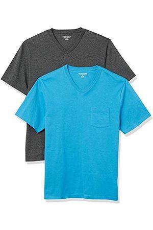 Amazon 2-Pack Loose-Fit V-Neck Pocket T-Shirt Fashion-t-Shirts, Blue/Charcoal Heather, US