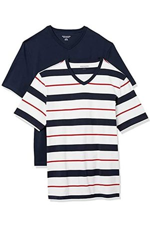 Amazon 2-Pack Loose-Fit V-Neck T-Shirt Fashion-t-Shirts, Red, White, And Navy Verrogated Stripe/Navy, US M