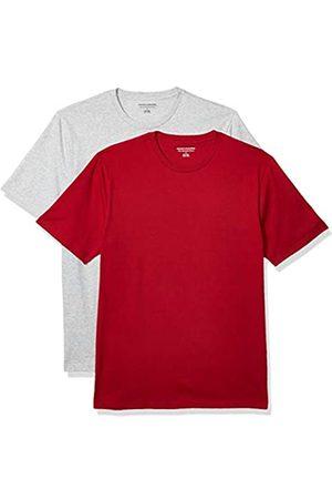 Amazon 2-Pack Slim-Fit Crewneck T-Shirt Fashion-t-Shirts, Red/Light Heather Grey, US