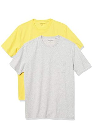 Amazon 2-Pack Slim-Fit Crewneck Pocket T-Shirt Fashion-t-Shirts, Yellow/Light Heather Grey, US XXL