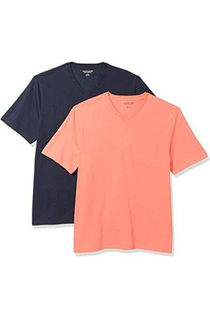 Amazon 2-Pack Loose-Fit V-Neck Pocket T-Shirt Fashion-t-Shirts, Coral/Dark Navy, US M