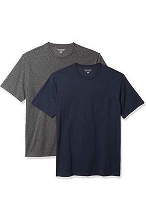 Amazon 2-Pack Slim-Fit Crewneck Pocket T-Shirt Fashion-t-Shirts, Dark Navy/Charcoal Heather Grey, US L