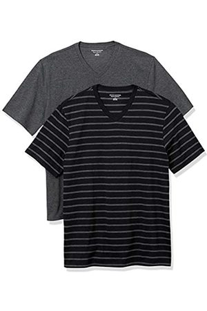 Amazon 2-Pack Loose-Fit V-Neck T-Shirt Fashion-t-Shirts, Black And Charcoal Brennan Stripe/Charcoal Heather, US S