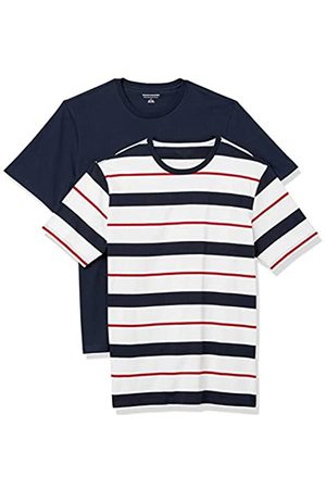 Amazon 2-Pack Slim-Fit Crewneck T-Shirt Fashion-t-Shirts, Red, White, And Navy Verrogated Stripe/Navy, US XXL