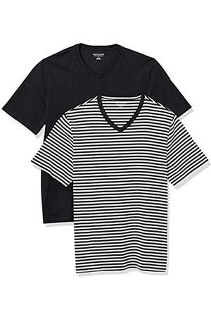 Amazon Uomo Polo - 2-Pack Loose-Fit V-Neck T-Shirt Fashion-t-Shirts, Black-White Stripe/Black, US
