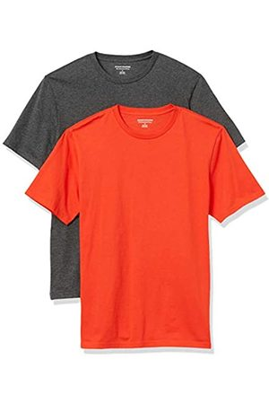 Amazon Uomo Polo - 2-Pack Slim-Fit Crewneck T-Shirt Fashion-t-Shirts, Bright Orange/Charcoal Heather Grey, US