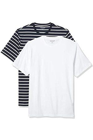 Amazon Set Composto da 2 Magliette a Girocollo a Maniche Corte Fashion-t-Shirts, Marina e Brennan Striscia/ , US M