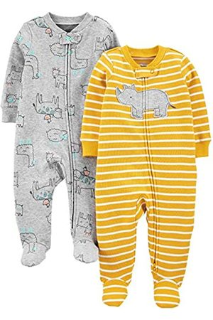 Simple Joys by Carter's Confezione da 2 Zip A 2 Vie in Cotone per Dormire E Giocare. Infant-And-Toddler-Sleepers, Rinoceronte /Animale, 6-9 Months