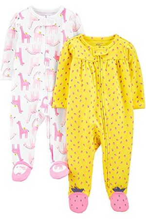 Simple Joys by Carter's Neonati Body e tutine - Confezione da 2 Zip A 2 Vie in Cotone per Dormire E Giocare. Infant-And-Toddler-Bodysuit-Footies, Llamas /Fragole, 3-6 Months