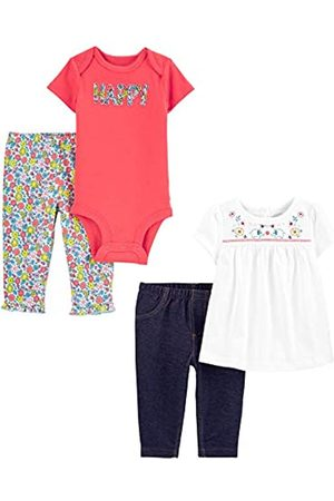 Simple Joys by Carter's Set Completo Composto da 4 Pezzi, Top e Pantaloni. Infant-And-Toddler-Pants-Clothing-Sets, Felice/Floreale, 0-3 Months