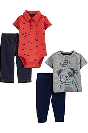 Simple Joys by Carter's Set Completo Composto da 4 Pezzi, Top e Pantaloni. Infant-And-Toddler-Pants-Clothing-Sets, Cane/Costruzione, 0-3 Months