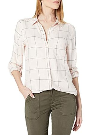 Daily Ritual Amazon Brand - Women's Soft Rayon Slub Twill Long-Sleeve Button-Front Tunic, Pinkhadow Windowpane,Small