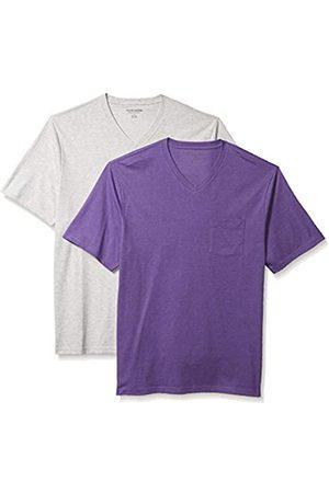 Amazon 2-Pack Loose-Fit V-Neck Pocket T-Shirt Fashion-t-Shirts, Purple Heather/Light Heather Grey, US L