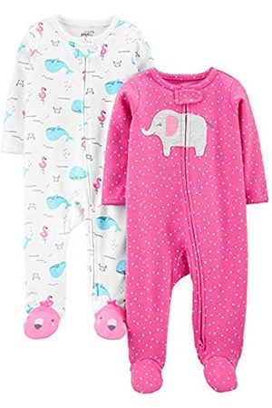 Simple Joys by Carter's Confezione da 2 Zip A 2 Vie in Cotone per Dormire E Giocare. Infant-And-Toddler-Bodysuit-Footies, Elefante /Balene, 0-3 Months