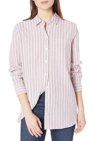 Goodthreads Seersucker Long-Sleeve Boyfriend Shirt Shirts, A Righe / /Bianche, XXL
