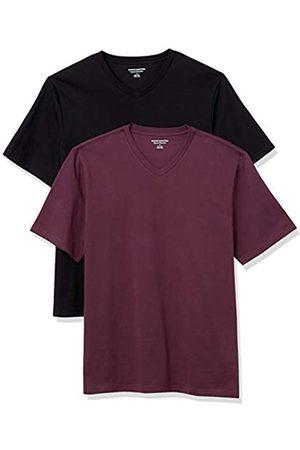Amazon 2-Pack Loose-Fit V-Neck T-Shirt Fashion-t-Shirts, Burgundy/Black, US L