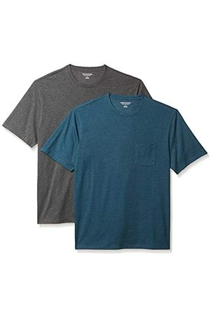 Amazon 2-Pack Loose-Fit Crewneck Pocket T-Shirt Fashion-t-Shirts, Teal Heather/Charcoal Heather, US S