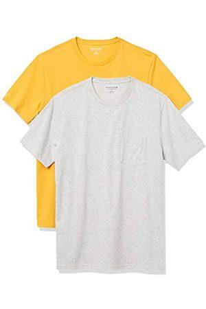 Amazon 2-Pack Slim-Fit Crewneck Pocket T-Shirt Fashion-t-Shirts, Mango/Light Heather Grey, US XXL