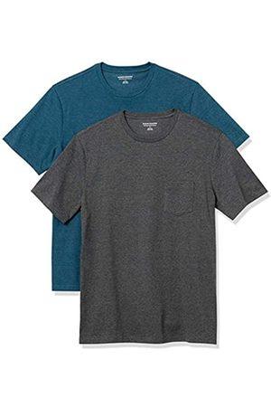Amazon 2-Pack Slim-Fit Crewneck Pocket T-Shirt Fashion-t-Shirts, Teal Heather/Charcoal Heather, US