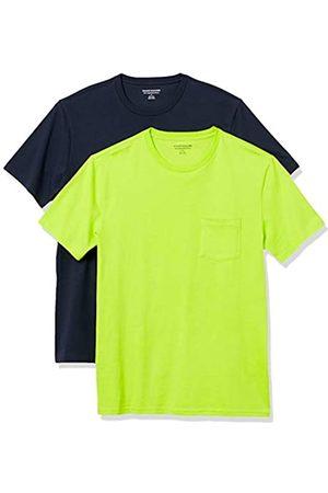 Amazon 2-Pack Slim-Fit Crewneck Pocket T-Shirt Fashion-t-Shirts, Lime/Dark Navy, US