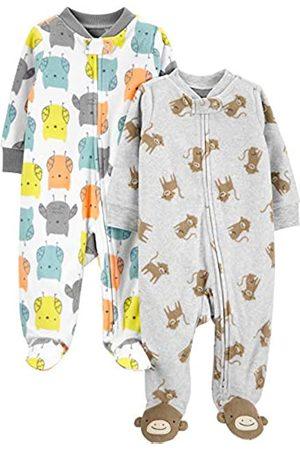 Simple Joys by Carter's Confezione da 2 Tasche in Pile con Cerniera A 2 Vie, per Dormire E Giocare. Infant-And-Toddler-Sleepers, Gufo/Scimmia, 0-3 Months