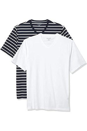 Amazon 2-Pack Loose-Fit V-Neck T-Shirt Fashion-t-Shirts, Navy And White Brennan Stripe/White, US XXL