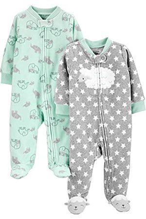 Simple Joys by Carter's Confezione da 2 Tasche in Pile con Cerniera A 2 Vie, per Dormire E Giocare. Infant-And-Toddler-Sleepers, Agnello/Elefante, US NB