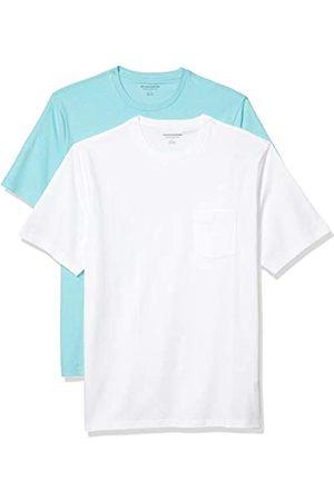 Amazon 2-Pack Loose-Fit Crewneck Pocket T-Shirt Fashion-t-Shirts, Aqua/White, US