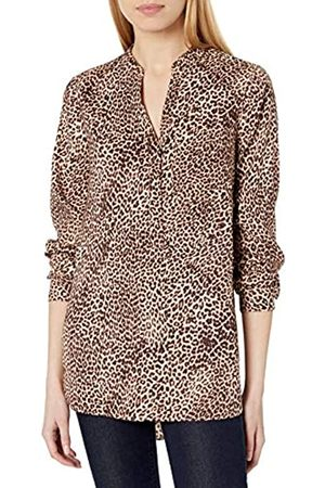 Daily Ritual Georgette Henley - Tunica Athletic-Shirts, Stampa Leopardata, US S