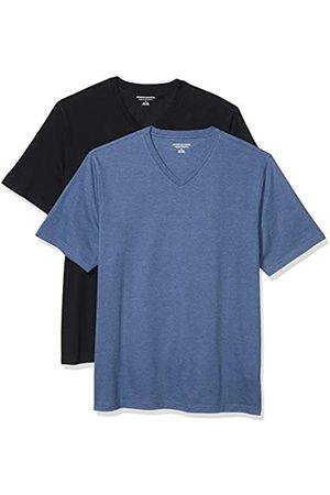 Amazon 2-Pack Loose-Fit V-Neck T-Shirt Fashion-t-Shirts, Black/Navy Heather, US L
