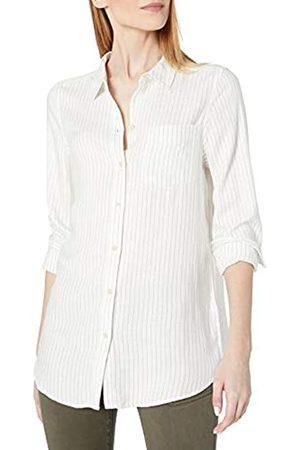 Daily Ritual Amazon Brand - Women's Soft Rayon Slub Twill Long-Sleeve Button-Front Tunic, Heather Grey Crossdye , XX-Large